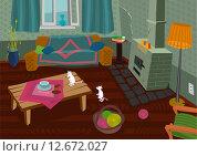 Старая комната с двумя мышами. Стоковая иллюстрация, иллюстратор Евгений Бакал / Фотобанк Лори