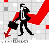 Бизнесмен в панике. Стоковая иллюстрация, иллюстратор Евгений Бакал / Фотобанк Лори