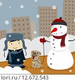 Зима в городе. Стоковая иллюстрация, иллюстратор Евгений Бакал / Фотобанк Лори