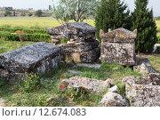 Купить «Иераполис, Турция. Саркофаги и руины склепов в античном некрополе, II в. до н.э. - XV в. н. э.», фото № 12674083, снято 8 мая 2015 г. (c) Сергей Афанасьев / Фотобанк Лори