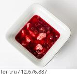 Купить «Berry soup with dumplings isolated on white», фото № 12676887, снято 18 июня 2018 г. (c) PantherMedia / Фотобанк Лори