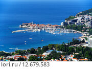 Купить «Aerial view of Budva, Montenegro on Adriatic coast», фото № 12679583, снято 20 марта 2019 г. (c) PantherMedia / Фотобанк Лори