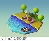 Купить «Isometric camping on the beach», иллюстрация № 12680251 (c) PantherMedia / Фотобанк Лори