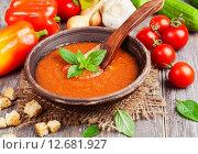 Купить «Гаспачо - итальянский холодный суп из помидоров», фото № 12681927, снято 13 сентября 2015 г. (c) Надежда Мишкова / Фотобанк Лори