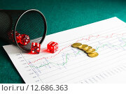 Купить «five dice and coins on financial chart», фото № 12686363, снято 19 июня 2019 г. (c) PantherMedia / Фотобанк Лори