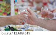Купить «Гости с бокалами за праздничным столом», видеоролик № 12689619, снято 13 августа 2014 г. (c) Потийко Сергей / Фотобанк Лори