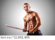 Купить «Muscular man with baseball bat», фото № 12692495, снято 18 августа 2012 г. (c) Elnur / Фотобанк Лори