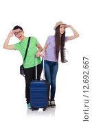 Купить «Girl and boy with suitcase isolated on white», фото № 12692667, снято 20 апреля 2013 г. (c) Elnur / Фотобанк Лори