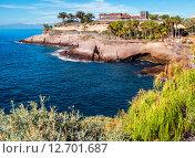 Купить «Вид на древний замок. Расположенный между пляжей El Duque и Fanabe в Тенерифе. Канарские острова. Испания», фото № 12701687, снято 20 декабря 2014 г. (c) Alexander Tihonovs / Фотобанк Лори