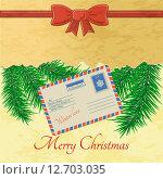 Рождественская открытка, письмо Санта Клаусу. Стоковая иллюстрация, иллюстратор Liliya Mekhonoshina / Фотобанк Лори