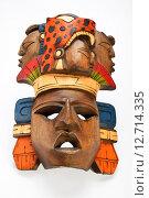 Раскрашенная деревянная маска индейцев майя. Стоковое фото, фотограф Anton Eine / Фотобанк Лори