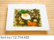 Купить «Щавелевый суп (зеленые щи) в тарелке», фото № 12714435, снято 16 сентября 2015 г. (c) Алёшина Оксана / Фотобанк Лори