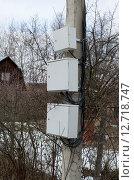 Трансформаторные щитки на столбе садовом товариществе (2015 год). Стоковое фото, фотограф Андрей Шарашкин / Фотобанк Лори