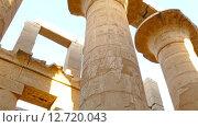 Купить «Колонны в Карнакском храме с иероглифами», видеоролик № 12720043, снято 21 сентября 2015 г. (c) Михаил Коханчиков / Фотобанк Лори