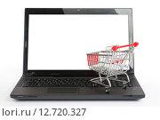 Купить «Тележка для покупок и ноутбук изолированно на белом фоне», фото № 12720327, снято 8 сентября 2015 г. (c) Кирилл Черезов / Фотобанк Лори