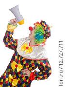 Купить «Clown with loudspeaker isolated on white», фото № 12727711, снято 13 мая 2015 г. (c) Elnur / Фотобанк Лори