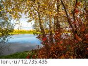 Купить «Осенний пейзаж с рекой», фото № 12735435, снято 21 сентября 2015 г. (c) Алексей Маринченко / Фотобанк Лори