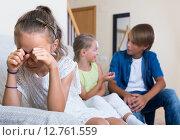 Купить «First amorousness: girl and couple of kids apart», фото № 12761559, снято 8 июля 2020 г. (c) Яков Филимонов / Фотобанк Лори