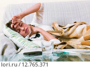 Купить «Young woman having heavy quinsy», фото № 12765371, снято 19 февраля 2019 г. (c) Яков Филимонов / Фотобанк Лори