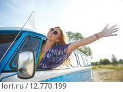 Купить «smiling young hippie woman driving minivan car», фото № 12770199, снято 27 августа 2015 г. (c) Syda Productions / Фотобанк Лори
