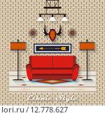 Рисунок интерьер гостиной в плоском стиле. Стоковая иллюстрация, иллюстратор Postolatii Natalia / Фотобанк Лори