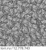 Монохромный непрерывный абстрактный узор от руки. Стоковая иллюстрация, иллюстратор Postolatii Natalia / Фотобанк Лори