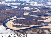Купить «Tundra river in autumn, top view», фото № 12780359, снято 24 сентября 2015 г. (c) Владимир Мельников / Фотобанк Лори