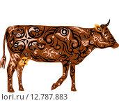 Орнаментальная коричневая корова. Стоковая иллюстрация, иллюстратор Буркина Светлана / Фотобанк Лори