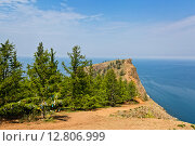 Купить «Самый северный мыс острова Ольхон на озере Байкал - мыс Хобой», фото № 12806999, снято 24 июля 2015 г. (c) Борис Ветшев / Фотобанк Лори