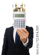 Купить «Funny man with calculator and abacus», фото № 12814591, снято 7 января 2015 г. (c) Elnur / Фотобанк Лори