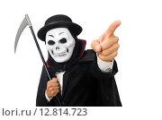 Купить «Man with scary mask isolated on white», фото № 12814723, снято 9 января 2015 г. (c) Elnur / Фотобанк Лори