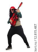 Купить «Man with guitar in musical concept on white», фото № 12815487, снято 23 марта 2015 г. (c) Elnur / Фотобанк Лори