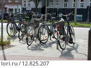 Купить «Стоянка велосипедов на одной из улиц Гамбурга», фото № 12825207, снято 1 августа 2015 г. (c) Наталья Николаева / Фотобанк Лори