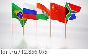 Флаги стран участниц БРИКС. Стоковая иллюстрация, иллюстратор Денис Рубцов / Фотобанк Лори