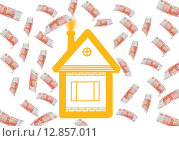 Дом под денежным дождём. Стоковая иллюстрация, иллюстратор Юлия Цигун / Фотобанк Лори
