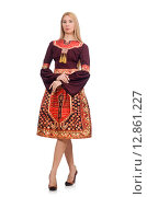 Купить «Woman in dress with oriental prints isolated on white», фото № 12861227, снято 24 апреля 2015 г. (c) Elnur / Фотобанк Лори