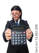 Купить «Man with calculator isolated on white», фото № 12861599, снято 7 января 2015 г. (c) Elnur / Фотобанк Лори