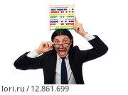 Купить «Funny man with calculator and abacus», фото № 12861699, снято 7 января 2015 г. (c) Elnur / Фотобанк Лори