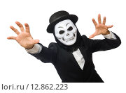 Купить «Man with scary mask isolated on white», фото № 12862223, снято 9 января 2015 г. (c) Elnur / Фотобанк Лори