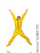 Купить «Woman in yellow suit isolated on white», фото № 12863731, снято 14 июля 2015 г. (c) Elnur / Фотобанк Лори