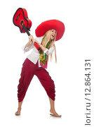 Купить «Woman wearing guitar with sombrero», фото № 12864131, снято 21 июля 2015 г. (c) Elnur / Фотобанк Лори
