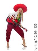 Купить «Woman wearing guitar with sombrero», фото № 12864135, снято 21 июля 2015 г. (c) Elnur / Фотобанк Лори