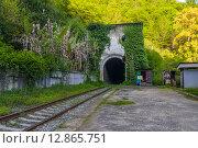 Купить «Заброшенный железнодорожный вокзал Псырдзха, Новый Афон», фото № 12865751, снято 7 мая 2015 г. (c) Михаил Кочиев / Фотобанк Лори