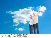 Купить «Composite image of happy mature couple cheering at camera», фото № 12869527, снято 15 ноября 2018 г. (c) Wavebreak Media / Фотобанк Лори