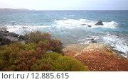 Купить «Берег моря, волны и ветер», видеоролик № 12885615, снято 9 октября 2015 г. (c) Виктория Катьянова / Фотобанк Лори
