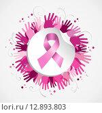 Купить «Breast cancer awareness ribbon hand social badge», иллюстрация № 12893803 (c) PantherMedia / Фотобанк Лори