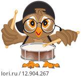 Купить «Сова бьет в барабан. Барабанщик», иллюстрация № 12904267 (c) Алексей Григорьев / Фотобанк Лори
