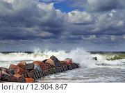 Купить «Штормовая Балтика и волнорез», фото № 12904847, снято 20 июля 2013 г. (c) Сергей Трофименко / Фотобанк Лори