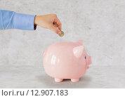 Купить «close up of hand putting coin to piggy bank», фото № 12907183, снято 30 июля 2015 г. (c) Syda Productions / Фотобанк Лори