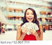 Купить «woman in red dress with us dollar money», фото № 12907711, снято 22 сентября 2013 г. (c) Syda Productions / Фотобанк Лори